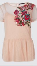 Marks And Spencer Top Mesh Double Layer Blush Rose Colour Size 18 New