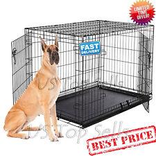 "Extra Large Dog Crate Kennel 48"" Folding Pet Cage Metal Tray Pan 2 Doors XL XXL"
