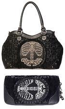 Gothic Ribcage elegante FLOCCATO Borsetta E Portafoglio da vietato Shoulder Bag Set