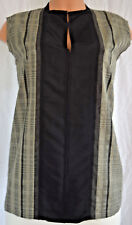 Lanvin Black/White Mini Checker Color Block Print Sleeveless Size 44