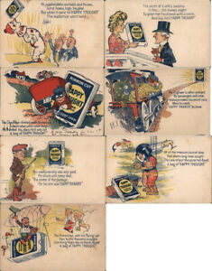 Advertising Set of 7 Happy Thought Chewing Tobacco Postcards Vintage Post Card
