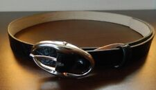 TALBOTS Black Classic Leather Belt Silver Buckle Size S Made in Italy