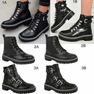 Womens Chunky Ankle Boots Low Block Heel Black Faux Leather Lace Up Punk Goth UK