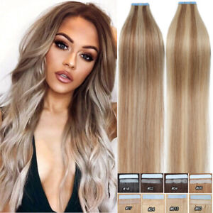 Tape In 100% Real Russian Human Hair Extensions Invisible Skin Weft Blonde Mix 2