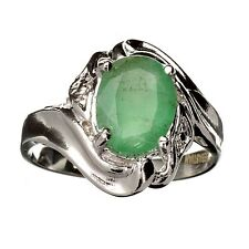 1.54CT Oval Cut Green Beryl Emerald And Platinum Over Sterling Silver Ring