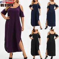 US Women's Summer Cold Shoulder Dress Casual Loose Baggy Maxi Dresses Plus Size