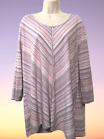cj banks Women's Blouse Plus 2X Long Sleeve Cotton Blend Pullover Top