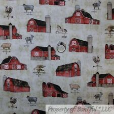 BonEful Fabric Fq Cotton Quilt Brown Red Barn Farm Scenic Horse Pig Rooster Cow