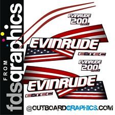 Evinrude 200hp ETEC High Output outboard engine decals/sticker kit