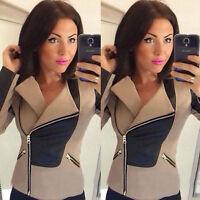 Fashion Womens Long Sleeve Zipper Casual Blazer Suit Casual Jacket Coat Outwear