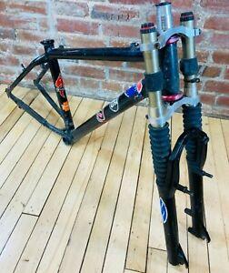 """Mountain Bike Frameset w/Double Crown Manitou Fork Black Alloy 15.5"""" 100/135"""