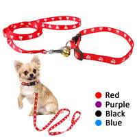 Nylon Paw Print Small Medium Dog Collars and Leash for Pet Puppy Cat Chihuahua