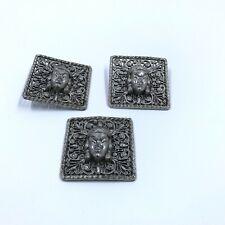 Vtg Antique 3 Square Oriental Egypt Buttons Woman Face Filigree Silvertone Metal