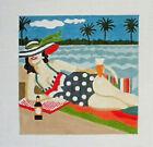 Handpainted Needlepoint Canvas Beach Beer Girl Lori Siebert LS-HG09 6x6 18M