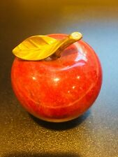 Vintage Polished Stone Red Apple w/ Bronze Leave