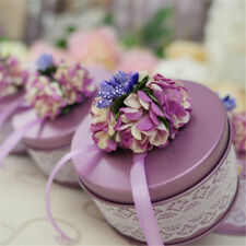 5x Wedding Candy Boxes Metal Round Flower Tie Party Married Favor Chic Pack Case