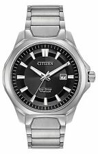BRAND NEW CITIZEN ECO-DRIVE WATCH SUPER TITANIUM BLACK DIAL WR100 AW1540-88E NIB