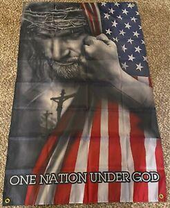 Jesus.Christian. One Nation Under God Flag 3'x5'huge