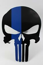 Punisher trailer hitch cover black w/blue line
