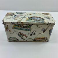 Vintage Looking Fishing Theme Tin Metal Can Box FREE Shipping