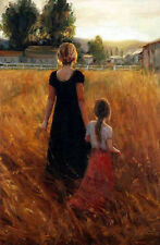 Oil painting portraits young mother with little girl in field harvest Hand paint
