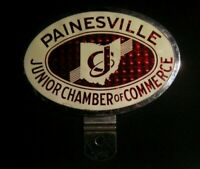 VINTAGE PAINESVILLE OH JUNIOR CHAMBER OF COMMERCE LICENSE PLATE TOPPER - JAYCEES