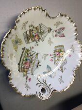 Vintage Ardalt Fine China Candy Dish 6388 Handpainted Birdcage Butterflies