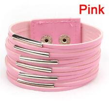 Vintage Punk Women Men Leather Multilayer Wrap Cuff Bangle Bracelet Jewelry C9 Pink
