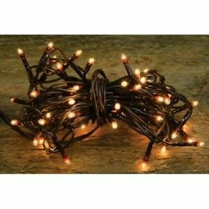 Light Set String Strand 50ct Count Clear Teeny Rice Bulbs Brown Cord Primitive