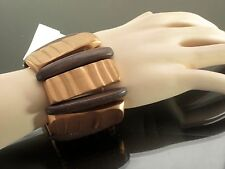 Wood Stretch Bracelet Cuff Beaded Bangle Bracelets Wooden Bead Wide Beads Ethnic