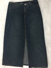 ANGELS Blue Stonewashed Front Slit Long Casual Denim A-Line Skirt 34 Inch Waist