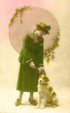 Rare Old Postcard Irish Red & White Setter & Lady Belgium c1924