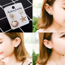 4pc/set Beach Starfish Seashell Stud Women Earrings Set Pearl Ear Studs Jewelry