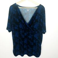 Lane Bryant Womens V-Neck Short Sleeve Blouse Black/Blue Floral Print SZ 18/20