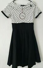 BNWT VINTAGE INSPIRED 50S  DOLLY & DOTTY BLACK POLKA DOT DRESS UK 12 FIT&FLARE