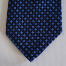 NEW Express Silk Neck Tie Dark Blue Navy and Royal Blue Plaids 1566