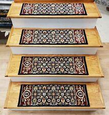 "Navy Stair Tread Set of 13 Wool Non Slip Carpet Runner Treads 27"" x 9"" Rug Depot"