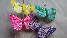 Feather Butterflies - Set of 4 - Authentic Style with Glitter - 6cm Wingspan