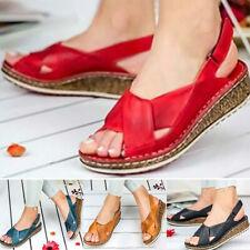 Womens Casual Orthopedic Peep Toe Slippers Shoes Size Comfy Summer Flat Sandals