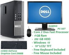 Fast Cheap DELL Gaming PC Set Intel Core2Duo @ 4.0GHz 4GB 250GB Wifi Win 10 Pro