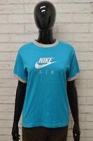 Maglia NIKE Donna Taglia Size L Maglietta Shirt Woman Manica Corta Cotone Blu