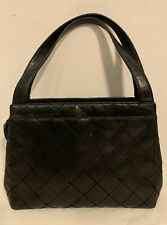 VINTAGE CHANEL  BLACK QUILTED SMALL Handbag Zip Top Purse Authentic