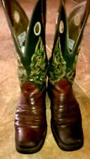 VTG MENS DOUBLE H COWBOY WORK LEATHER BROWN BOOTS SIZE 7.5 M