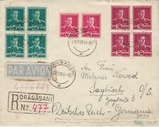 Romania Dragasani WW2 censored airmail cover to Saybusch Germany 1941 Registered