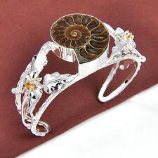 Gorgeous Handmade Ammonite FossiL Brazil Citrine Gems Silver Bangle Bracelet