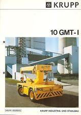 Equipment Brochure - Krupp - 10 GMT-I - Mobile Industrial Crane - 1978 (E1360)