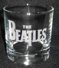The Beatles Logo Glass  4 Etched Rocks Glasses