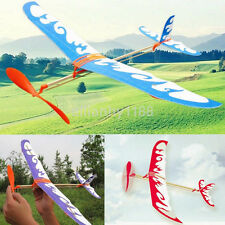 Elastic Rubber Band Powered Flying Airplane Plane Glider Assembly Model Kids Toy