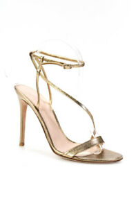 Gianvito Rossi Womens Metallic Leather Ankle Strap Sandals Gold Size 38.5 8.5