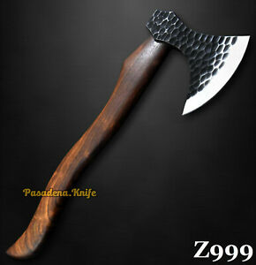 Hammered Spring Steel 5160 Tomahawk Axe Hunting Knife Hacthet Knife, No Damascus